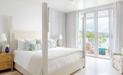 Windjammer Landing St Lucia ocean view villa bedroom balcony with ocean views
