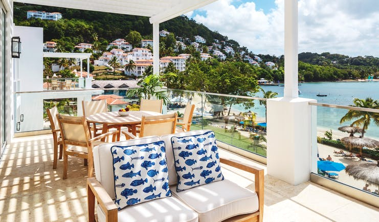 Windjammer Landing St Lucia terrace outdoor seating overlooking beach