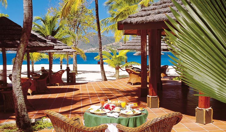 Palm Island St Vincent and the Grenadines restaurant outdoor dining on the beach