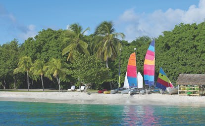 Petit St Vincent boats moored on the beach palm trees