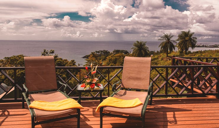 The Villas at Stonehaven Tobago balcony sun loungers ocean view