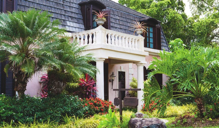 The Villas at Stonehaven Tobago villa exterior palm trees shrubbery