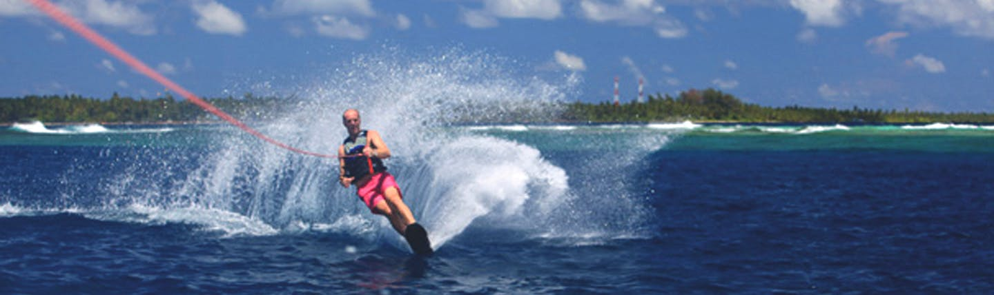 Man on water skis in Maldives