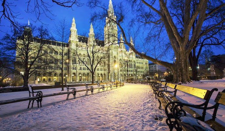 Austria Vienna Rathaus snow