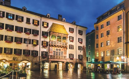 Building with arcacded golden roof overlooking old square in Innsbruck