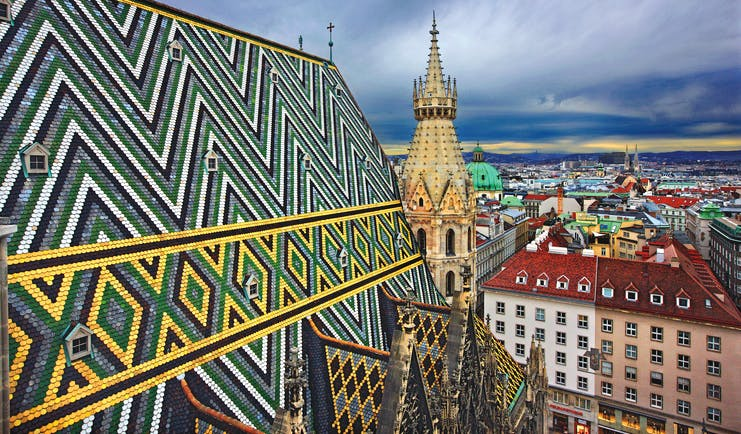 Green, black and gold roof of St Stephan's cathedral Vienna