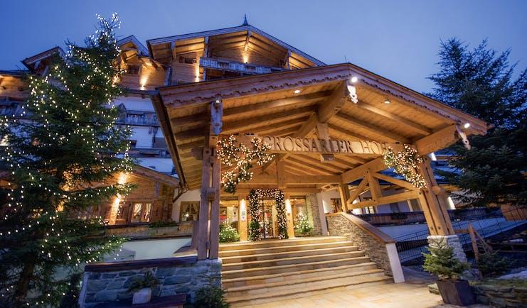 Grossarler Hof Austria exterior wooden building stone steps pine tree with lights