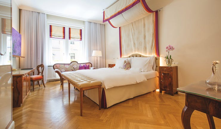 Hotel Kaiserhof Vienna superior bedroom canopy bed desk table bedside tables