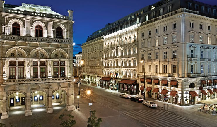 Hotel Sacher Vienna exterior night large building at night time on a city street