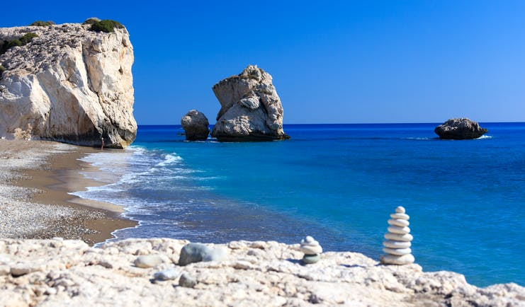 Aphrodite's rocks in Cyprus, rock formation, sea, sand beach