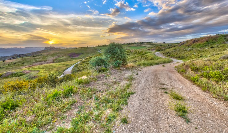Rural road in Cyprus, scrubland, beautiful sky, vegetation
