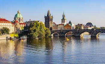 Prague with river and bridge