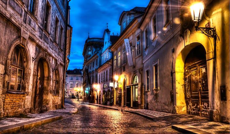 Prague street scene at night