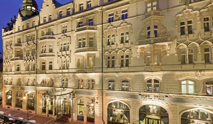 Hotel Paris Prague exteropr building with large windows sign reading 'Hotel Paris'