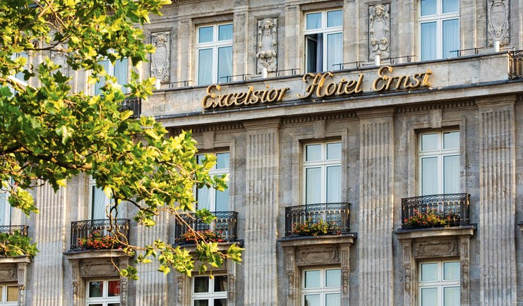 Excelsior Hotel Ernest Cologne exterior grey stone building with balconies