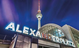 Night scene in Berlin Alexanderplatz with illuminated tower