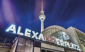 Night scene in Berlin Alexanderplatz with illuminated tower