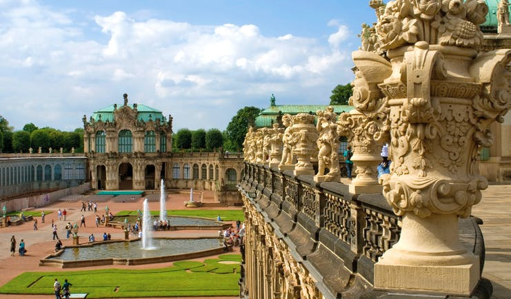 Ornamental Baroque gardens with palace with green roof Dresden Zwinger