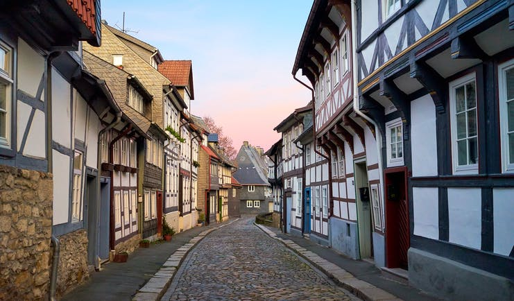 Narrow street of black and white timbered houses in Goslar
