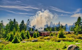 Steam train through countryside in Harz mountains