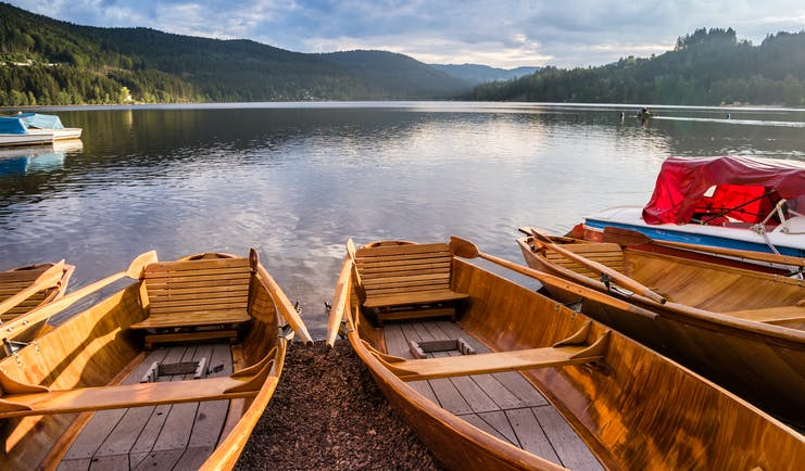 Rowing boats moored at Lake Titisee Black Forest