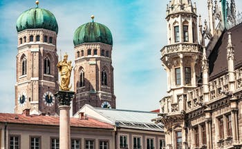 Towers and spires of churches in Munich
