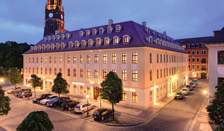 Hotel Buelow Dresden exterior large cream building with grey roof and windows