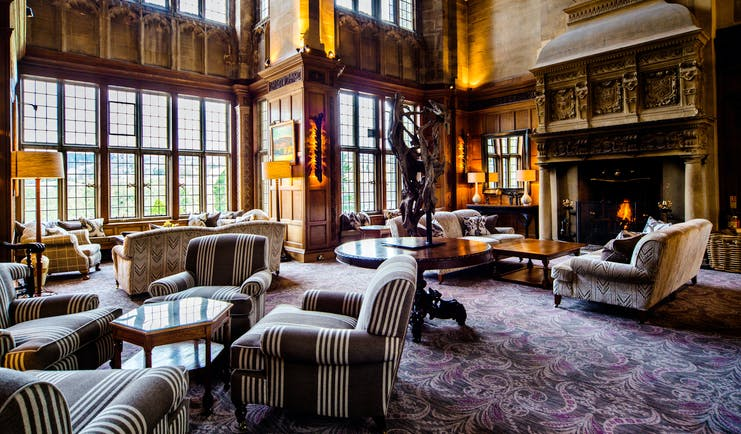 Bovey Castle Devon cathedral room with tall leaded light windows