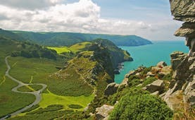 Valley of clifs and fields with sea below Lynton