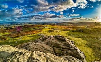 Moorland with rocks and fields Devon