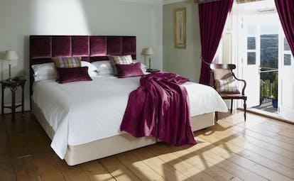 Horn of Plenty Devon room 4 with pink curtains