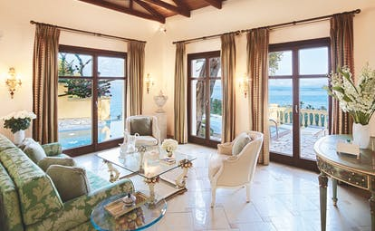 Living room with balcony and sea views Corfu Imperial Palazzo Odyssia