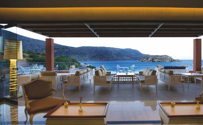 Domes of Elounda Greece outdoor  lounge terrace area with sea views