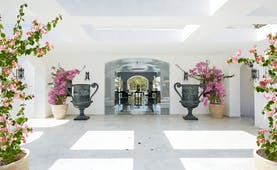Grecotel Caramel Greece lobby area with large grey urns and pink flowers