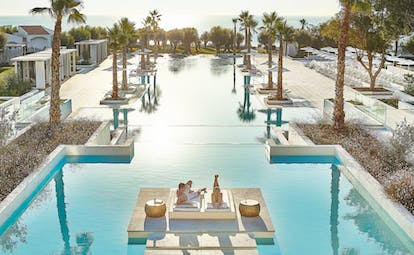 Large long rectangular pool with palm trees either side