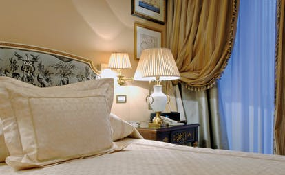 Hotel Grande Bretagne Greece bedroom opulent decor draped curtains