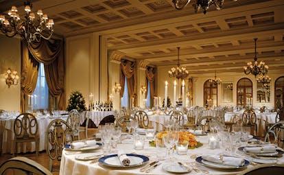 Hotel Grande Bretagne Greece dining room opulent decor chandeliers candelabras