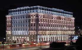 Hotel Grande Bretagne Greece exterior night street view of hotel