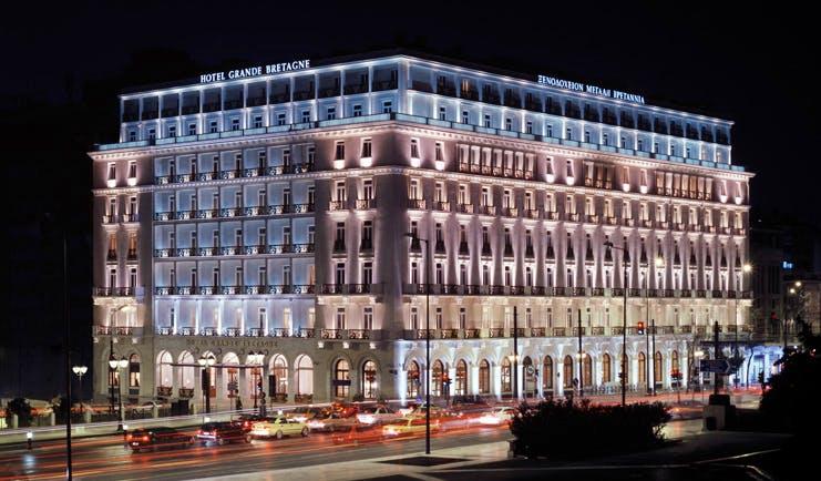 Hotel Grande Bretagne Greece exterior night street view of hotel