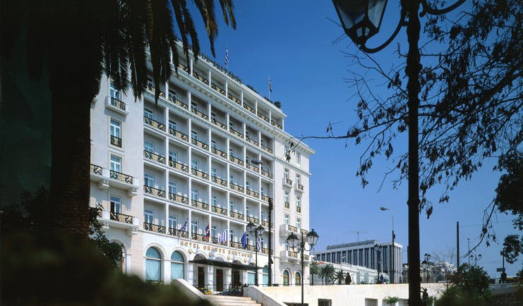 Hotel Grande Bretagne Greece exterior large white building with balconies