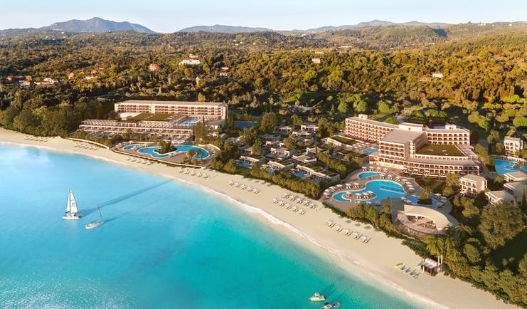 Ikos Dassia Greece aerial view day hotel swimming pools and beach