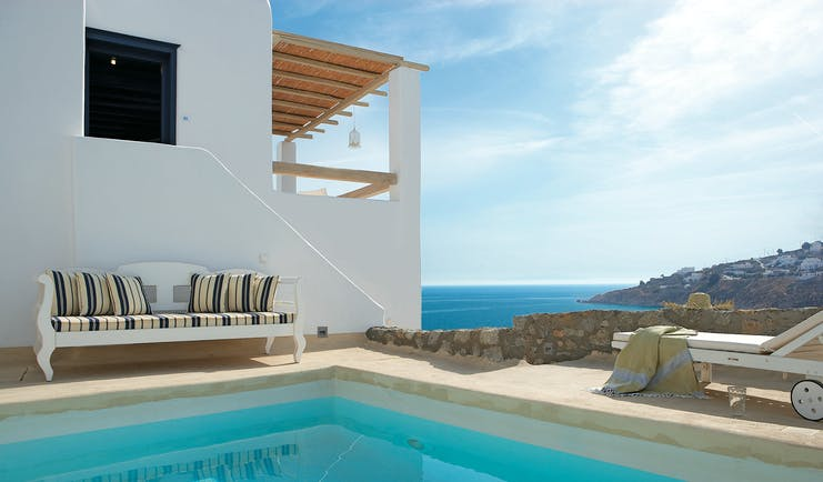 Mykonos Blu Greece Grecotel private pool with sofa and sun lounger