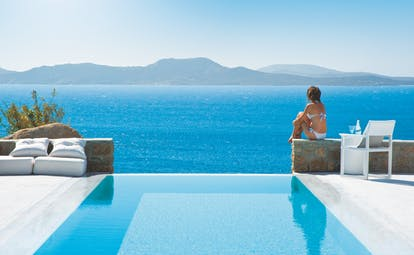 Mykonos Grand Hotel Greece private pool with sea view