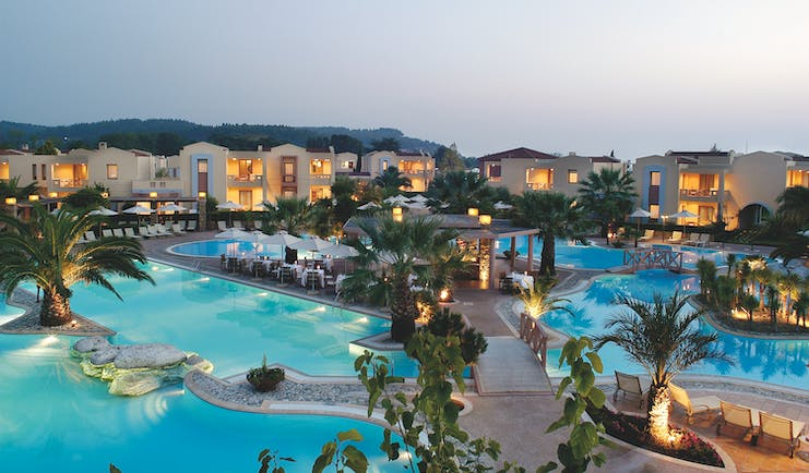 Porto Sani Greece exterior aerial view of hotel with several large outdoor pools