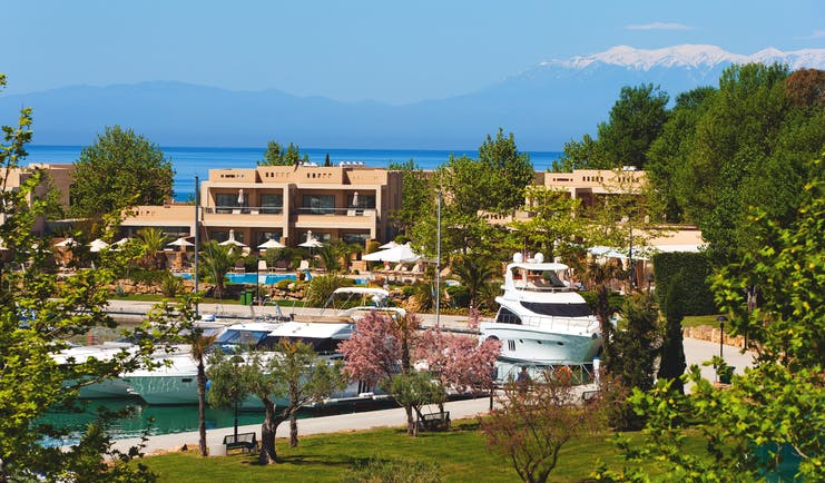 Sani Asterias Greece hotel exterior with yachts in the bay