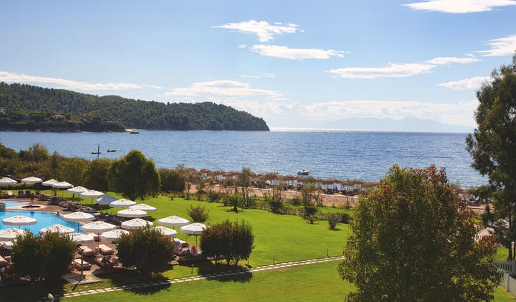 Exterior of the Skiathos Princess Hotel looking over the beach and pool