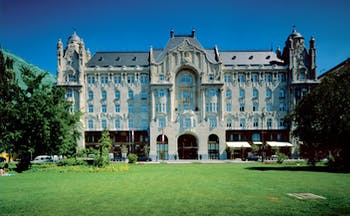 Four Seasons Gresham Palace Hungary exterior shot large grand building lawn area