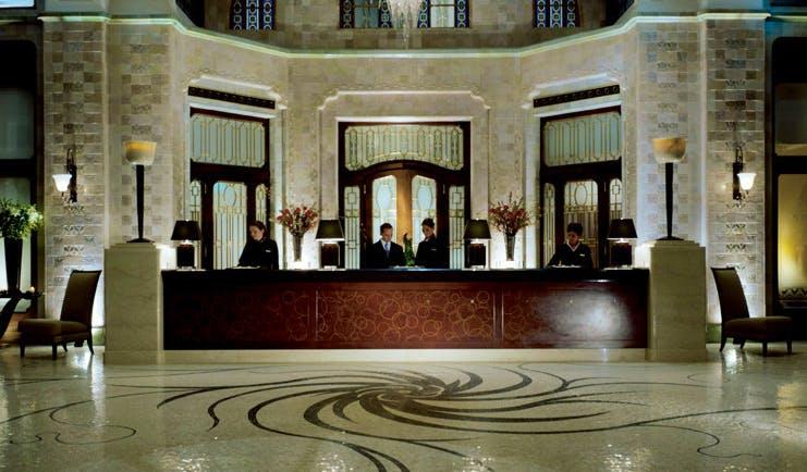 Four Seasons Gresham Palace Hungary lobby mosaic floors reception desk
