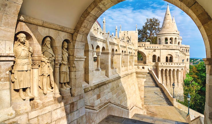 Mediaeval style carved stone figures forming a wall at the Fishermen's Bastion in Budapest