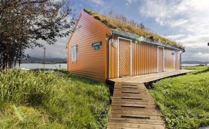 Orange wooden cabin